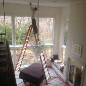 residential electrician - chandelier installation